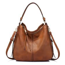 details about large hobo handbags designer leather purse shoulder vintage bucket bag brown