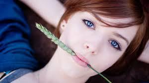 Wallpaper Blue eyes girl, wheat, look ...