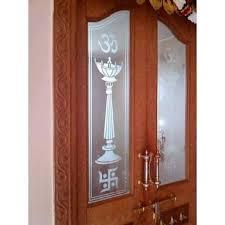 pooja room door glass design