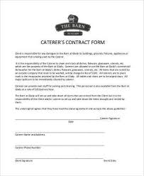 Catering Contract Samples Catering Contract Template Mwb Online Co