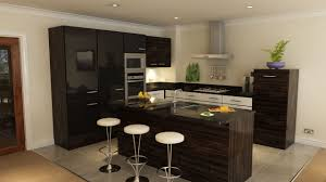 apartment kitchen ideas. Fancy Dark Brown Apartment Kitchen Design With Round White Bar Chairs Idea Ideas