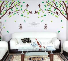 wall art ideas design trees brown art for wall large size birds cage brown green leaves white fabric livingroom home decorations glass best art for wall