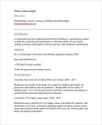Sample Nanny Resume Template 6 Free Documents Download In