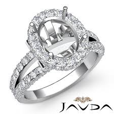 1 4ct diamond engagement ring 14k white gold oval semi mount halo pave setting