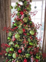 White Christmas Tree With Red And Green Decorations (06)
