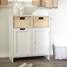 bathroom floor cabinet with wicker wastebasket ideas and white bathroom storage cabinet