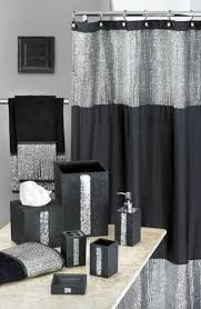 black and silver bathroom accessories. vegas style bathroom? caprice black shower curtain w/ sequins wooohoo and silver bathroom accessories pinterest