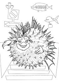 Small Picture Sykes the Pufferfish from Shark Tale Coloring Pages Batch Coloring