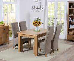 mark harris york solid oak dining set 130cm extending with 4 harley tweed fabric chairs