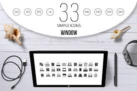 Window Icon Set Simple Style