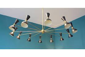 large mid century italian 24 light brass chandelier with black shades photo 1