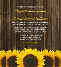 sunflowers barn wood wedding invitation template