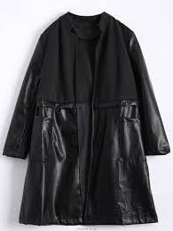 lowly zaful women black tops pu leather panel plus size coat suede faux leather material wool wide length long clothing vh46765