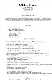 Resume Templates: Chemical Technicians