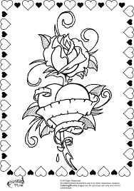 hearts with wings and roses coloring pages 15 i rose heart ribbon for valentine