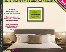 Source: 11×14 Wood Frame On Bedroom Wall | Photoshop Print Mockup 1114 BR1  | Portrait U0026 Landscape | Smart Object | Custom Colors | Bedroom Interior