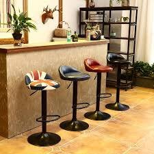product details of vintage retro leather kitchen bar pub pedal stools swivel home footrest chair