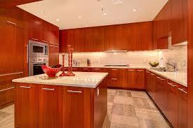 contemporary kitchen with stone tile backsplash