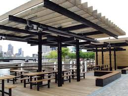 exterior heaters radiant. large outdoor area heated by heatray tube radiant gas heater exterior heaters n