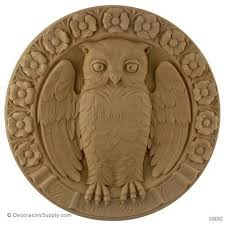 wood appliques for furniture. Bird - Owl 13 Diameter 1 1/8Relief-Decorators Supply Wood Appliques For Furniture