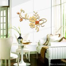 Großhandel Romantische Blumen Rebe Glatten Spiegel Wand Aufkleber