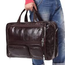 genuine leather messenger bag men 17 inch large capacity multifunction 2018 travel brand shoulder laptop man briefcase 8136 briefcases for women womens