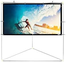 pyle 100 outdoor portable matt white theater tv projector screen w triangle stand