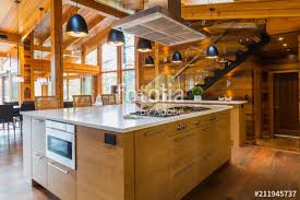 bamboo wood kitchen island with white quartz countertops luxurious cedar wood home