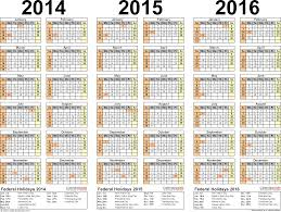 Multi Year Planner 2014 2016 Three Year Calendar Free Printable Pdf Templates