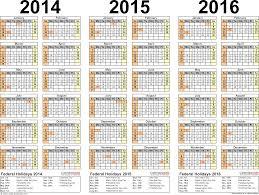 2014 2016 Three Year Calendar Free Printable Excel Templates