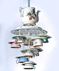teacup chandelier with teapot