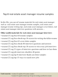 Top 8 real estate asset manager resume samples In this file, you can ref  resume ...