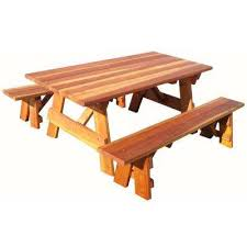 outdoor 1905 super deck redwood picnic table with separate benches