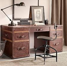 mayfair vintage cigar leather desk from restoration hardware