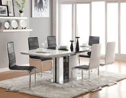 stylish brilliant dining room glass table: dining room cool dining room set with white black gloss extendable dining table feature black sleek dining chair combine iron frame and chrome legs also