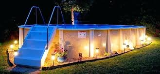 above ground round pool with deck. Above Ground Pool Deck Plans With Fancy Lighting Round