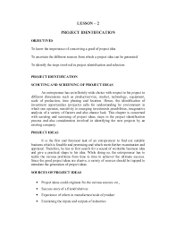 project management 27 lesson 2 project identification