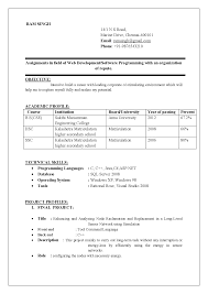 Resume Of Software Engineer Fresher Resume For Software Engineer