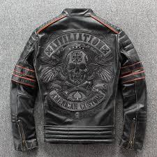 vintage skull embroidery skull genuine <b>cow leather</b> jacket