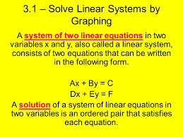 3 1 solve linear systems by graphing a system of two linear equations in two variables