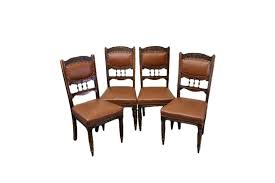 set of four late victorian antique gany leather upholstered dining chairs photo 1