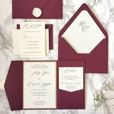 Wedding Invitation Folder Ca0609 Customized Burgundy Pocketfold Wedding Invitations With Rsvp