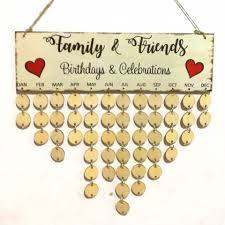 family and friends diy wooden birthday calendar round