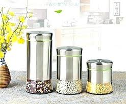 airtight canister set glass and stainless steel with lids food container sealed storage jars copper cherry