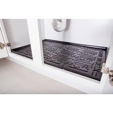 Black Kitchen Depth Under Sink Cabinet Mat Drip Tray Shelf Liner (33 3/