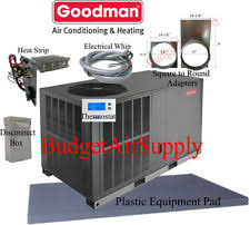 goodman ac unit. 3.5 ton 14 seer goodman heat pump package unit gph1442h41+tstat+ install kit ac