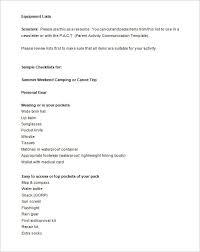 19 Camping Checklist Templates Doc Pdf Excel Free Premium
