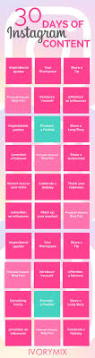 instagram post ideas. Brilliant Post Infographic Showing 30 Days Of Instagram Content Ideas In Post Ideas T