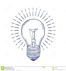 Monochrome Light Bulb Glowing Incandescent Light Bulb Hand Drawn With Blue Contour