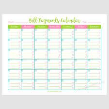 Bill Calendar Printable Bill Payments Calendar A Cultivated Nest 1